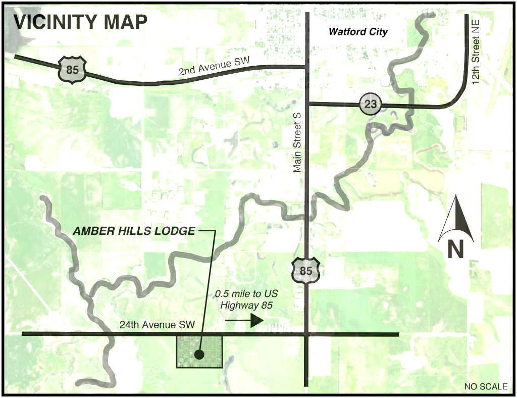 Vicinity Map for Amber Hills Lodging - 925 24th Avenue SW Watford City, ND 58854