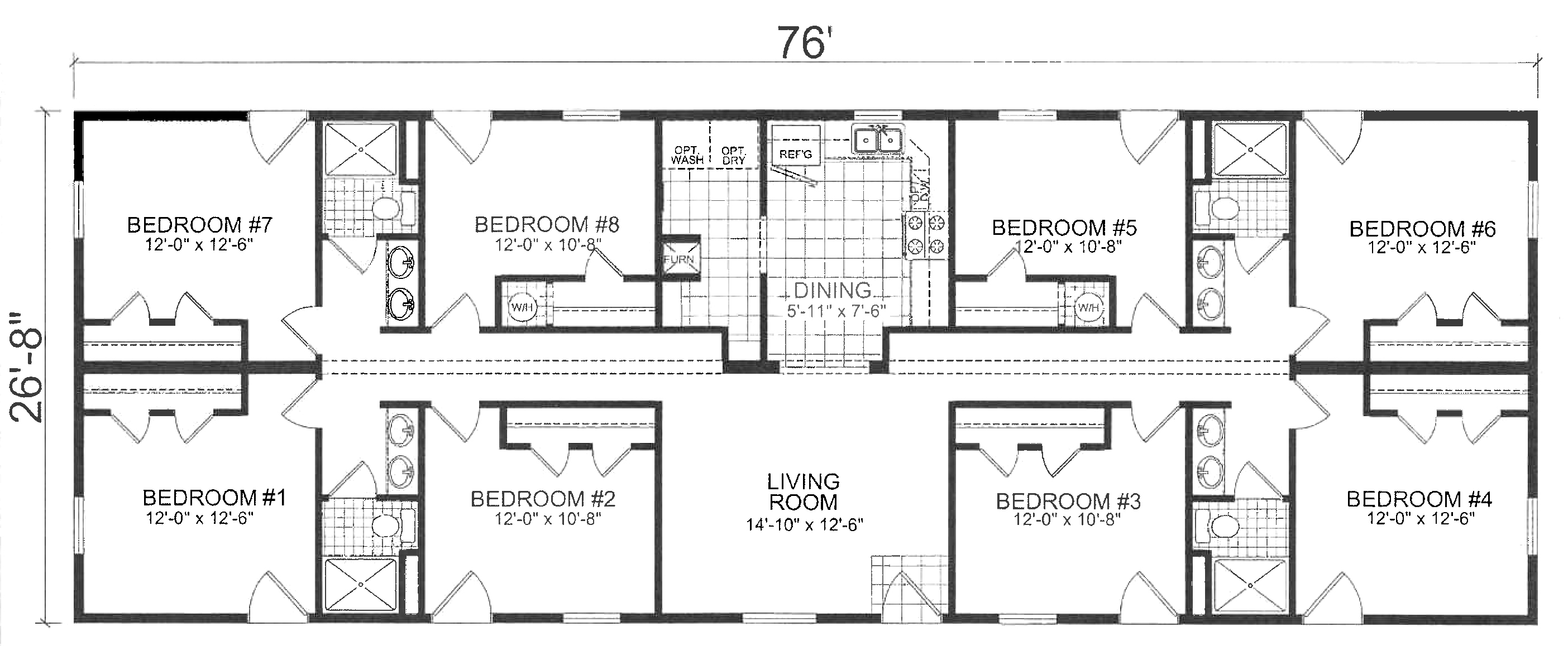 Unit layout at Amber Hills Lodging - 8 bedrooms, 4 bathrooms and plenty of living space.